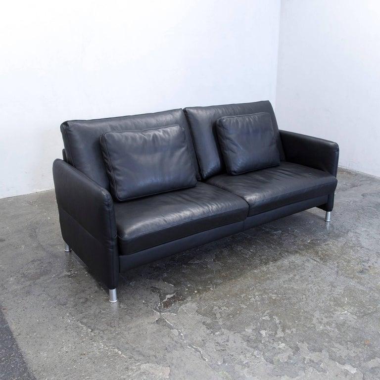 designer sofa leather black three seat function couch modern at 1stdibs. Black Bedroom Furniture Sets. Home Design Ideas