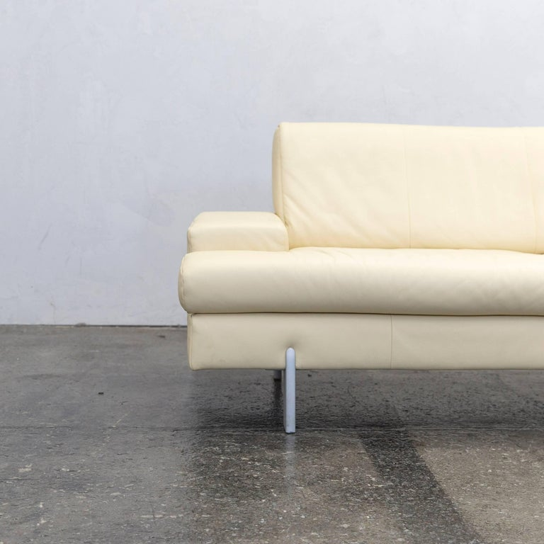 Rolf benz designer sofa leather creme beige three seat - Rolf benz leder ...