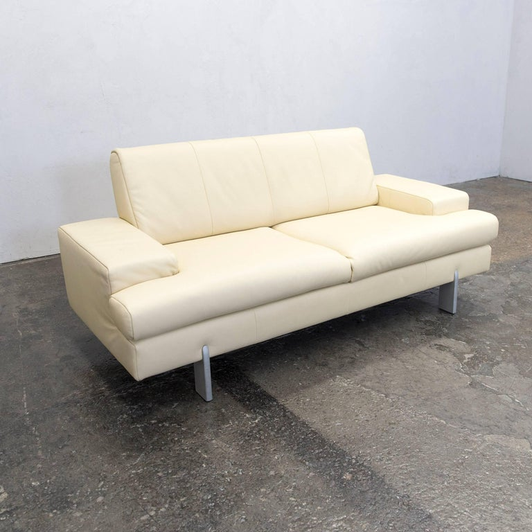 Rolf benz designer sofa leather creme beige two seat couch - Rolf benz leder ...