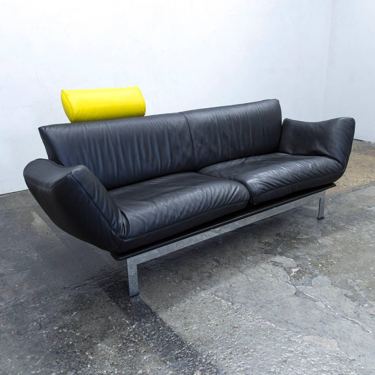 Designer couch leder  De Sede Ds 140 Designer Sofa Leather Black Yellow Two-Seat Relax ...