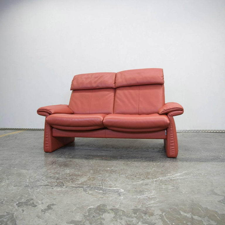 Erpo Designer Leather Sofa Red Orange Twoseater Relax Function Modern At 1stdibs