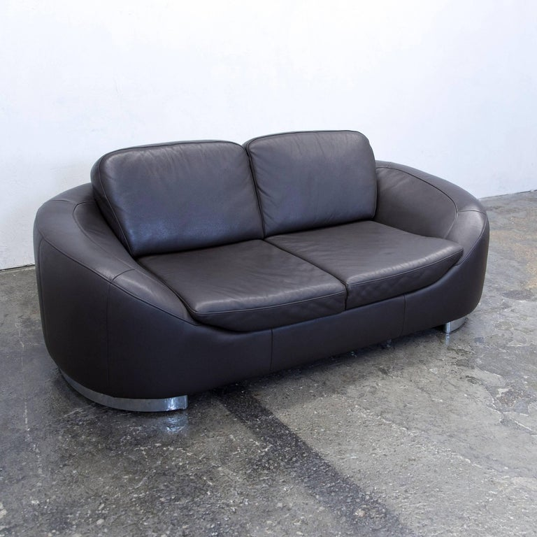ewald schillig designer sofa leather brown two seat couch modern at 1stdibs. Black Bedroom Furniture Sets. Home Design Ideas