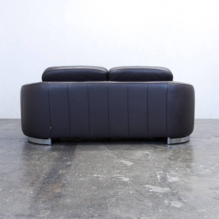 ewald schillig designer sofa leather brown two seat couch modern at 1stdibs. Black Bedroom Furniture Sets. Home Design Ideas