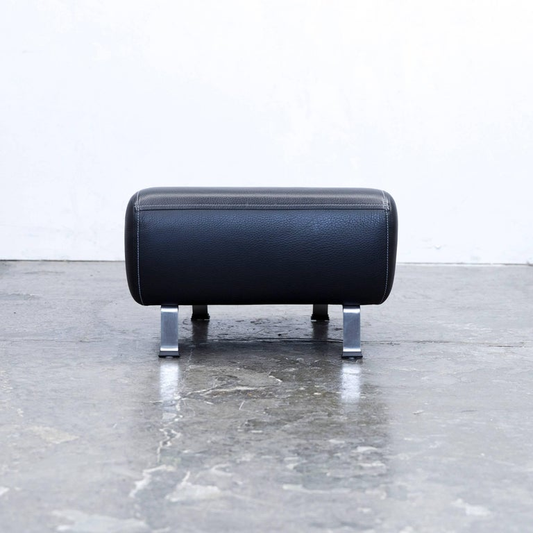 Himolla Maximilian Designer Footstool Leather Black Relax