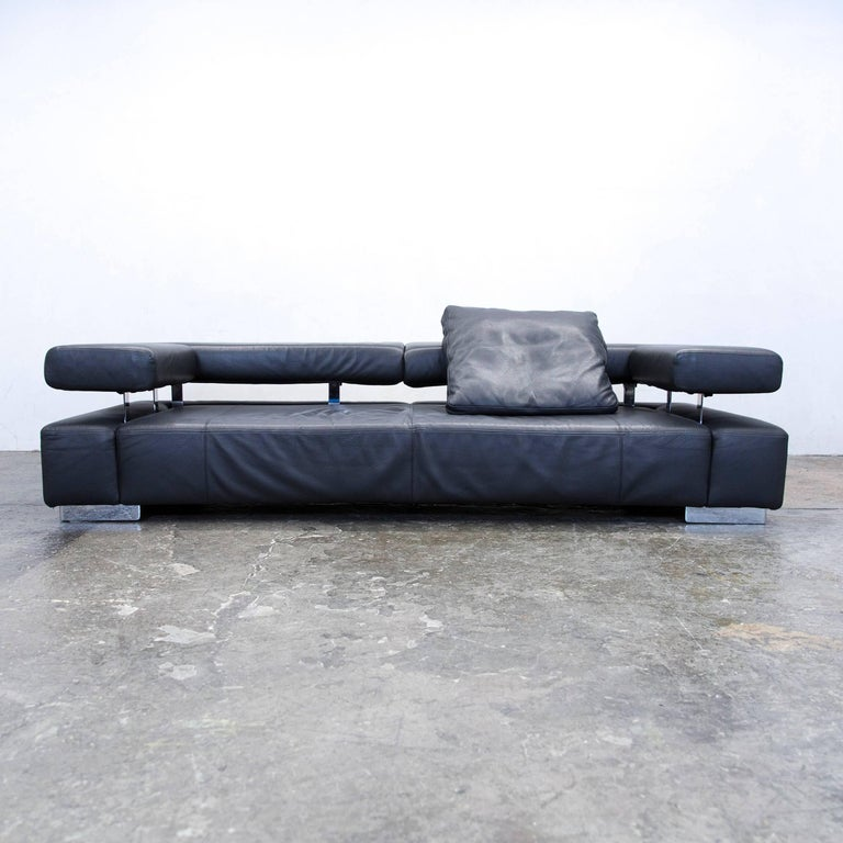 br hl and sippold sunrise two designer sofa black three seat function couch at 1stdibs. Black Bedroom Furniture Sets. Home Design Ideas