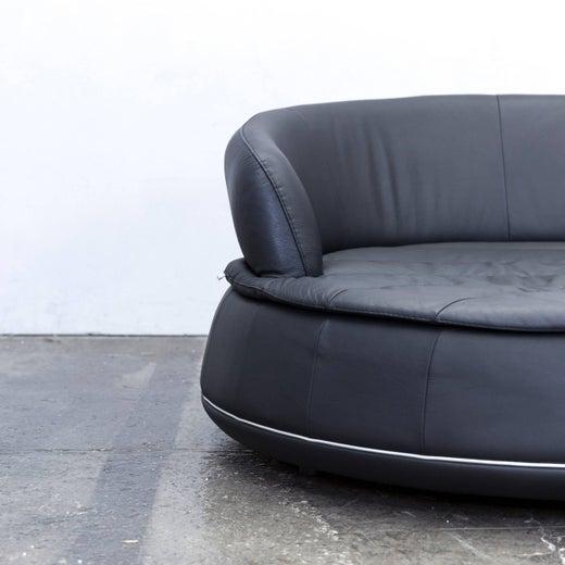 Nieri Espace Loveseat Designer Sofa Anthrazit Black Two Seat Round Lounge Couch