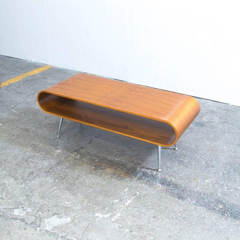 Designer Sofa Table Walnut Brown Retro Chic Wood Chrome 3