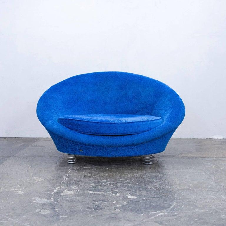 Bretz Pool Designer Loveseat Fabric Chair Blue One Seat Modern At 1stdibs