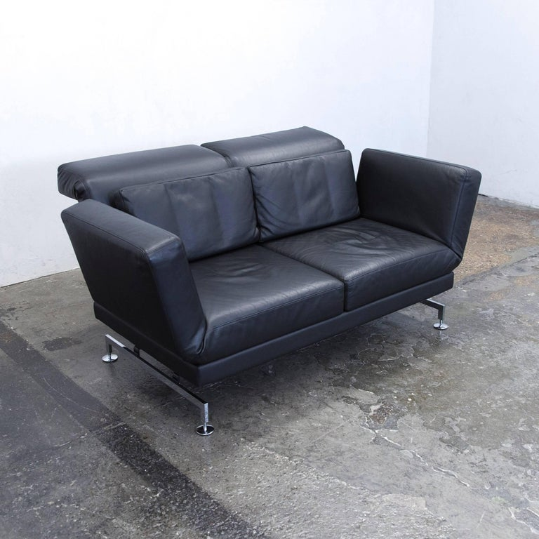 br hl and sippold moule designer sofa leather black two seat function modern at 1stdibs. Black Bedroom Furniture Sets. Home Design Ideas