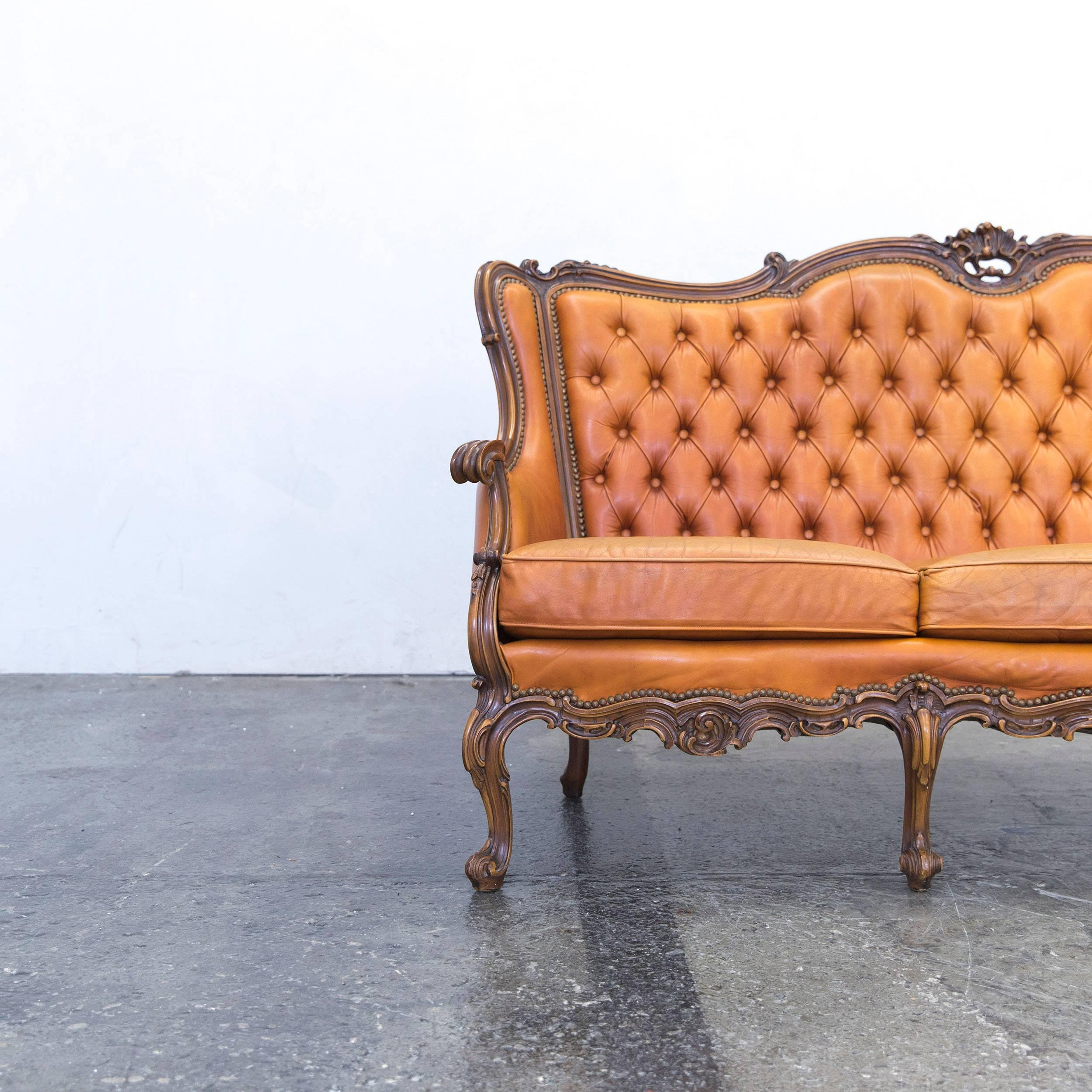 Cognac Brown Colored Original Chesterfield Leather Sofa In A Vintage  Design, Made For Pure Comfort