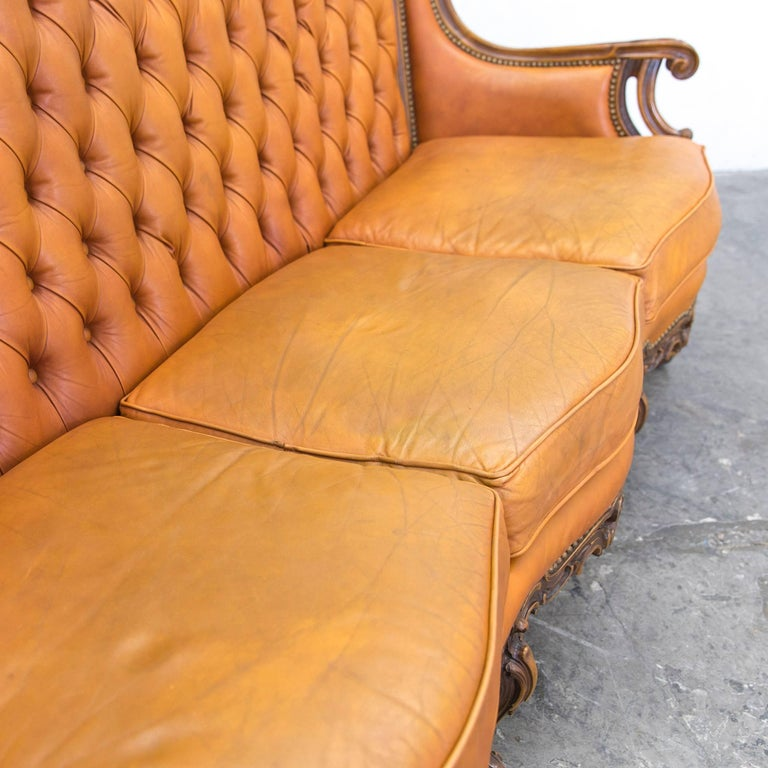 chesterfield baroque leather sofa cognac brown three seat couch wood retro at 1stdibs. Black Bedroom Furniture Sets. Home Design Ideas