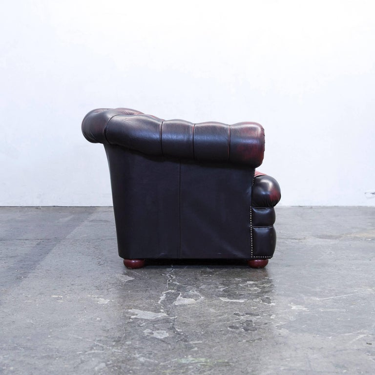 chesterfield sofa leather red brown three seat couch retro. Black Bedroom Furniture Sets. Home Design Ideas