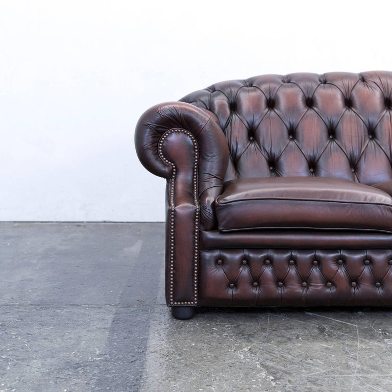 chesterfield centurion leather sofa brown red two seat. Black Bedroom Furniture Sets. Home Design Ideas
