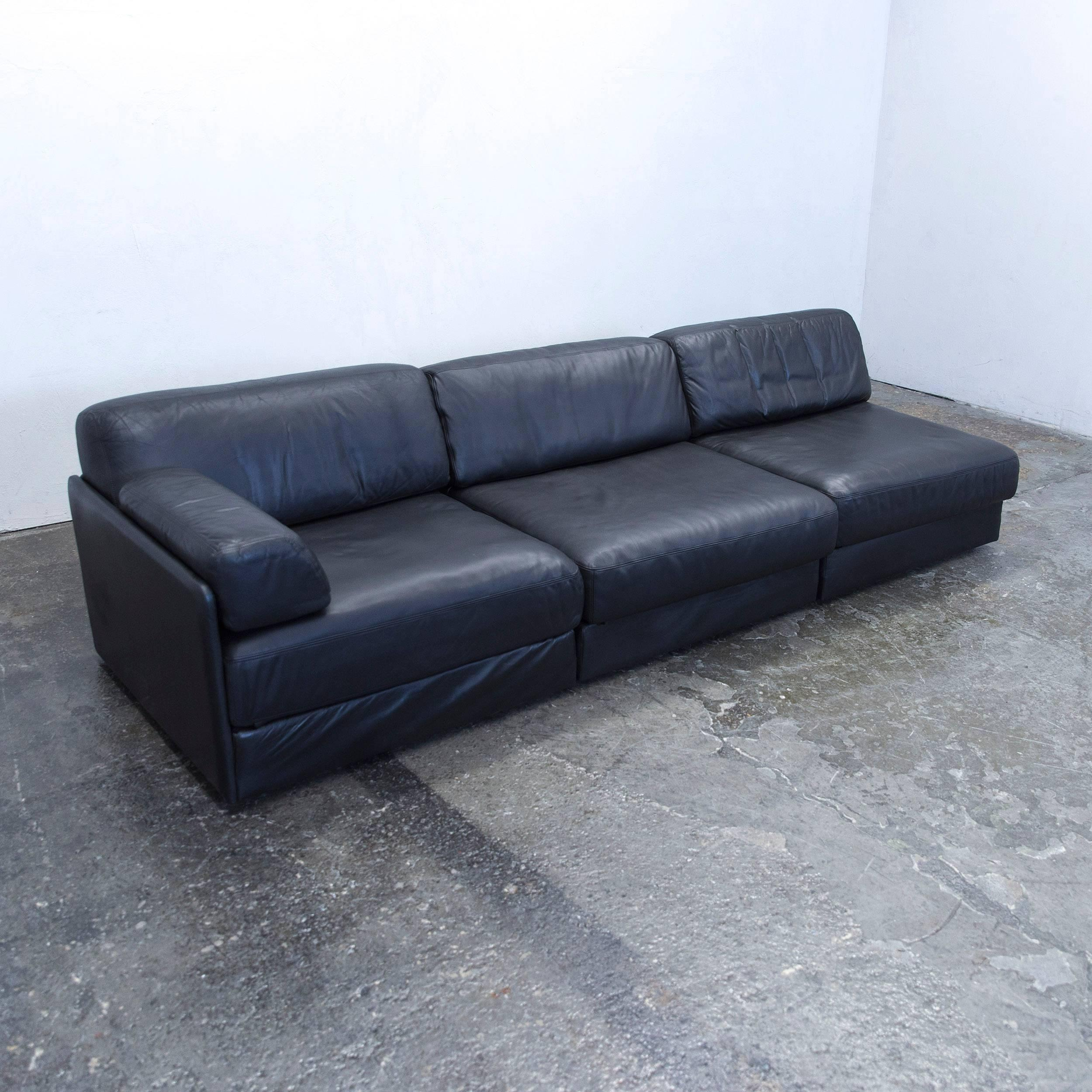 De Sede Ds 76 Designer Sofa Leather Black Three Seat Function Couch