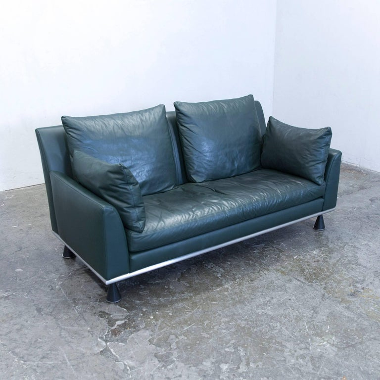 Rolf Benz Designer Sofa Leather Green Two Seat Couch