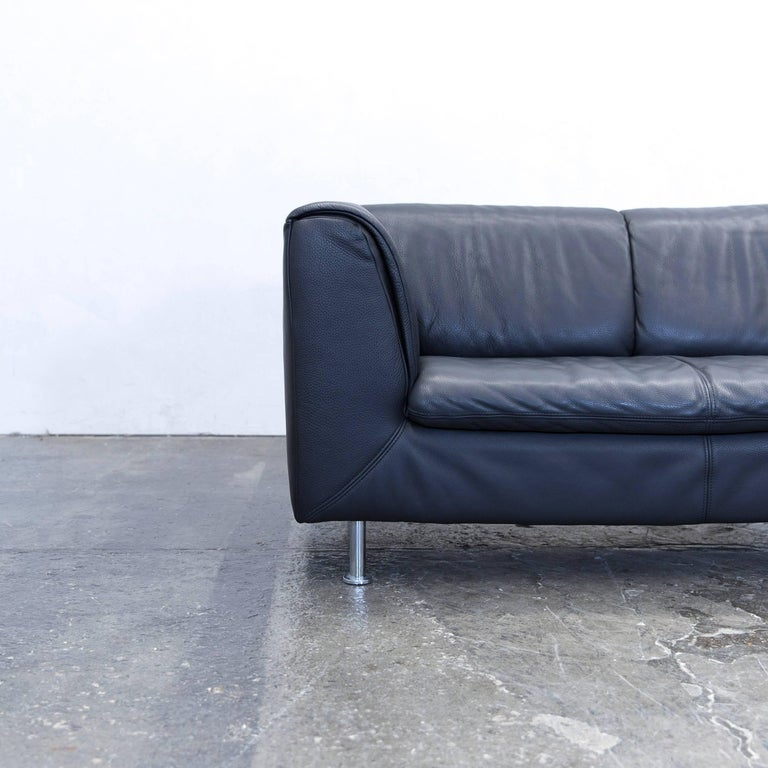 willi schillig designer sofa leather anthrazit black two seat couch modern at 1stdibs. Black Bedroom Furniture Sets. Home Design Ideas