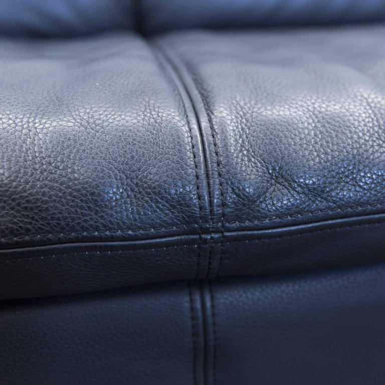 willi schillig designer sofa leather anthrazit black three seat couch modern for sale at 1stdibs. Black Bedroom Furniture Sets. Home Design Ideas