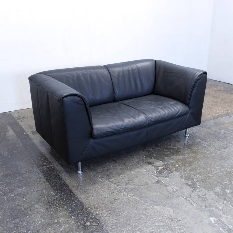 willi schillig designer sofa leather anthrazit black two seat couch modern at 1stdibs. Black Bedroom Furniture Sets. Home Design Ideas
