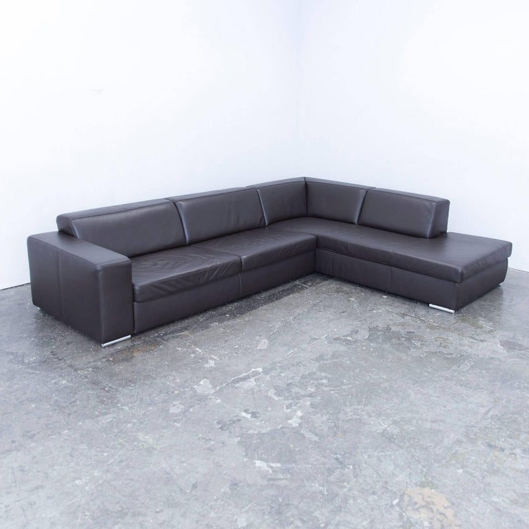 ewald schillig designer corner sofa leather brown function couch at 1stdibs. Black Bedroom Furniture Sets. Home Design Ideas