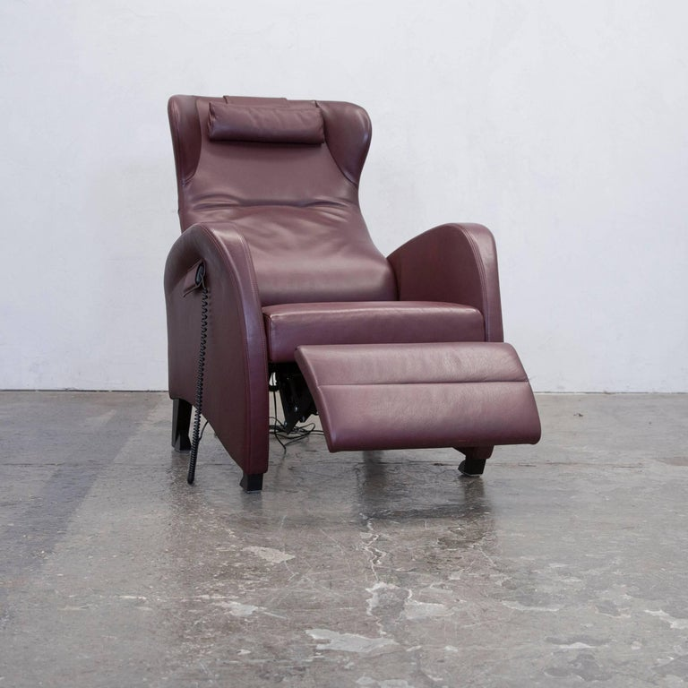 Wittmann leather chair wine red one seat relax for sale at for Sessel weinrot