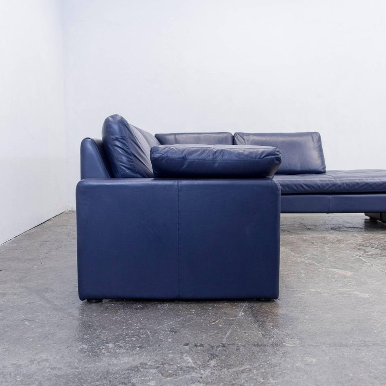 Cor Conseta Designer Leather Corner Couch Blue Modern For Sale At 1stdibs