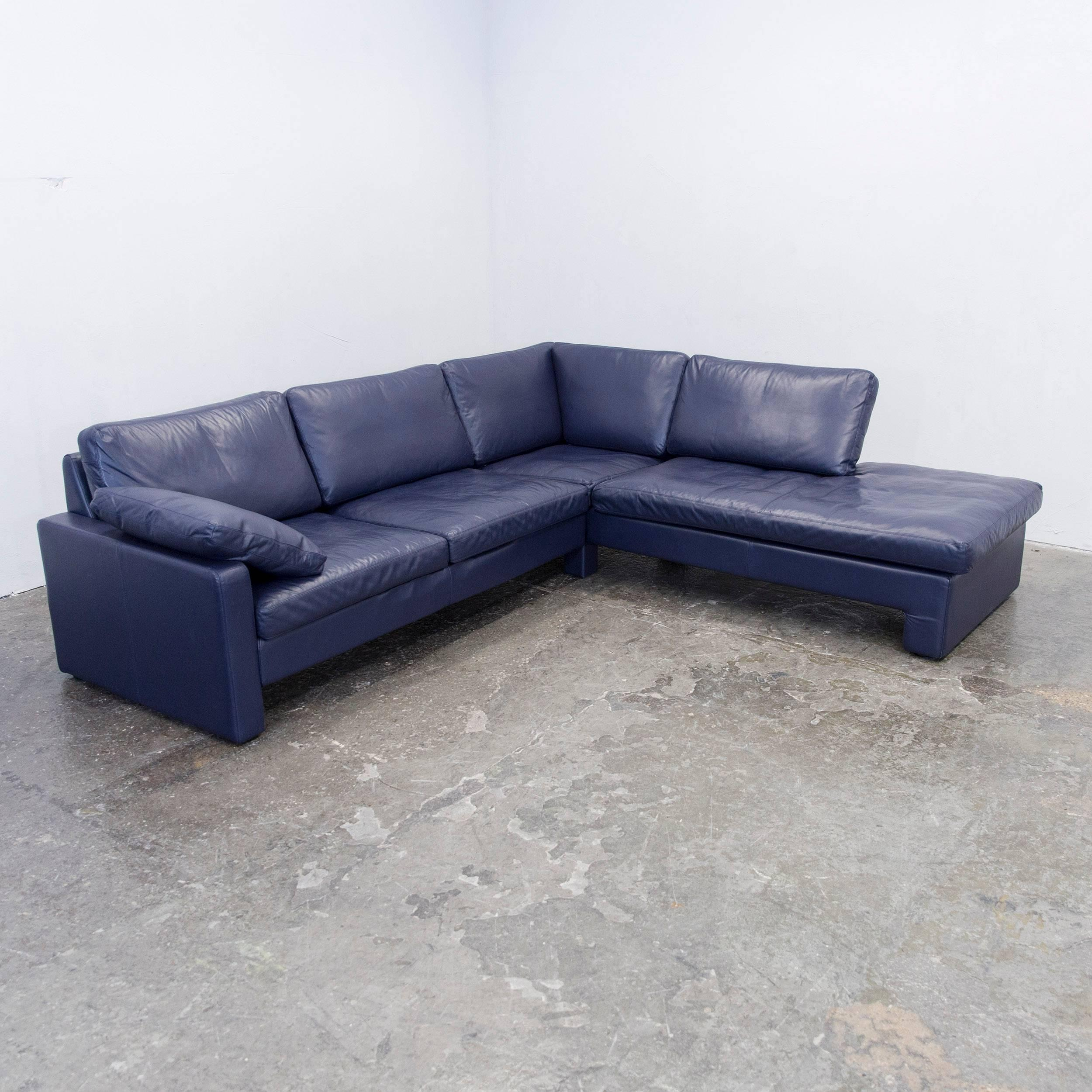 German COR Conseta Designer Leather Corner Couch Blue Modern For Sale