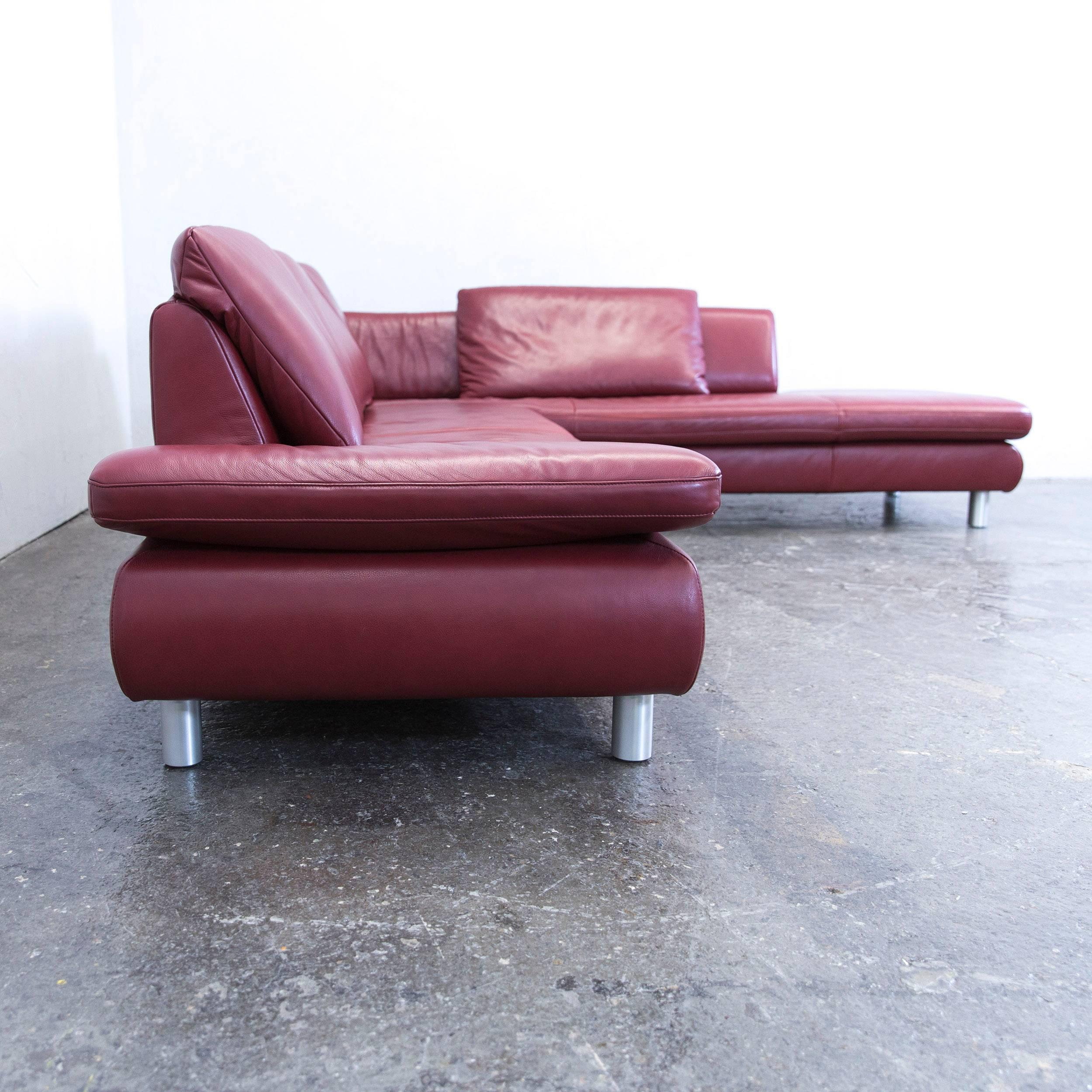 Koinor Volare Leather Corner Sofa Red Function Couch Modern At 1stdibs