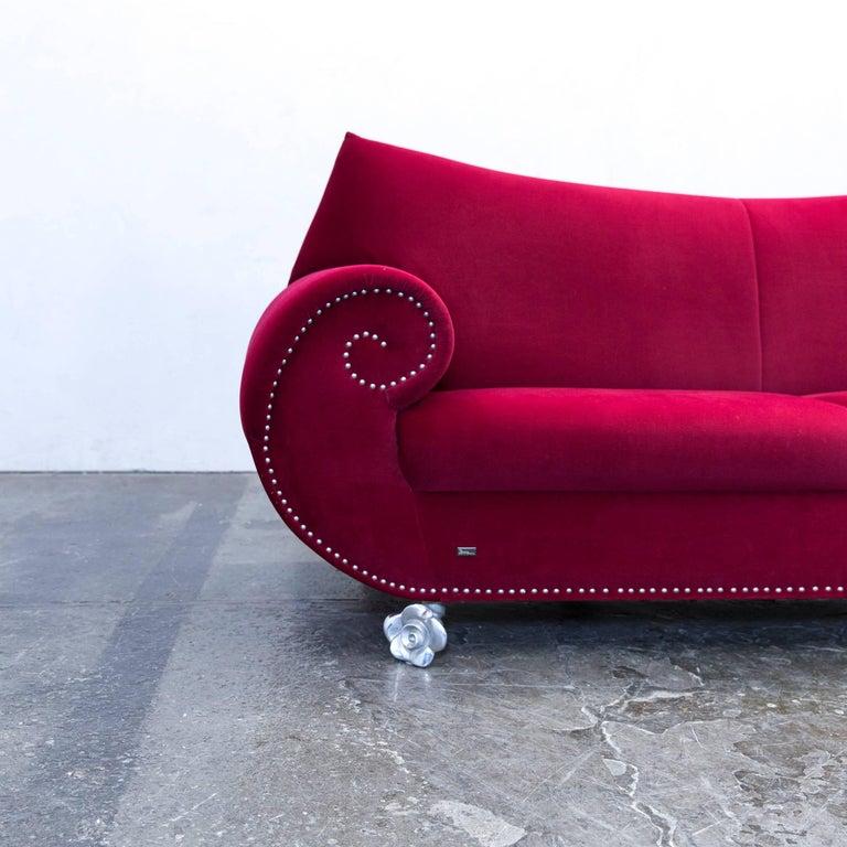 Bretz Gaudi Designer Sofa Fabric Red Violet Three Seat