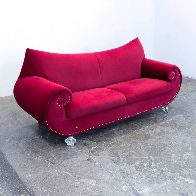german bretz gaudi designer sofa fabric red violet three seat couch modern for sale - Bergroe Sessel Chaiselongue