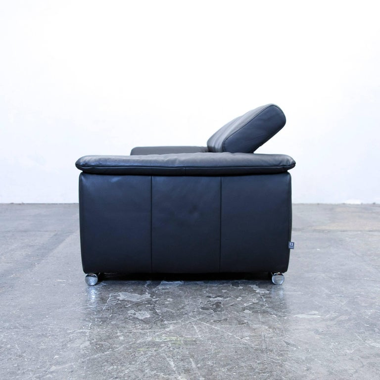 ewald schillig designer sofa leather black two seat function couch modern at 1stdibs. Black Bedroom Furniture Sets. Home Design Ideas