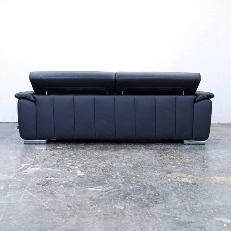 ewald schillig designer sofa leather black two seat function couch modern at 1stdibs. Black Bedroom Furniture Sets. Home Design Ideas