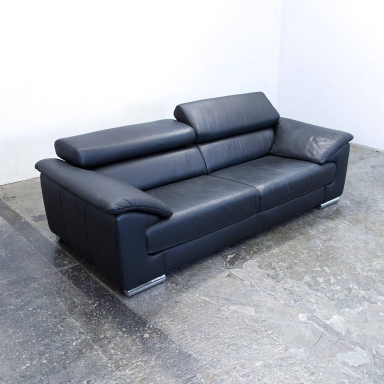 Ewald Schillig Designer Sofa Leather Black Two-Seat Function Couch Modern at 1stdibs