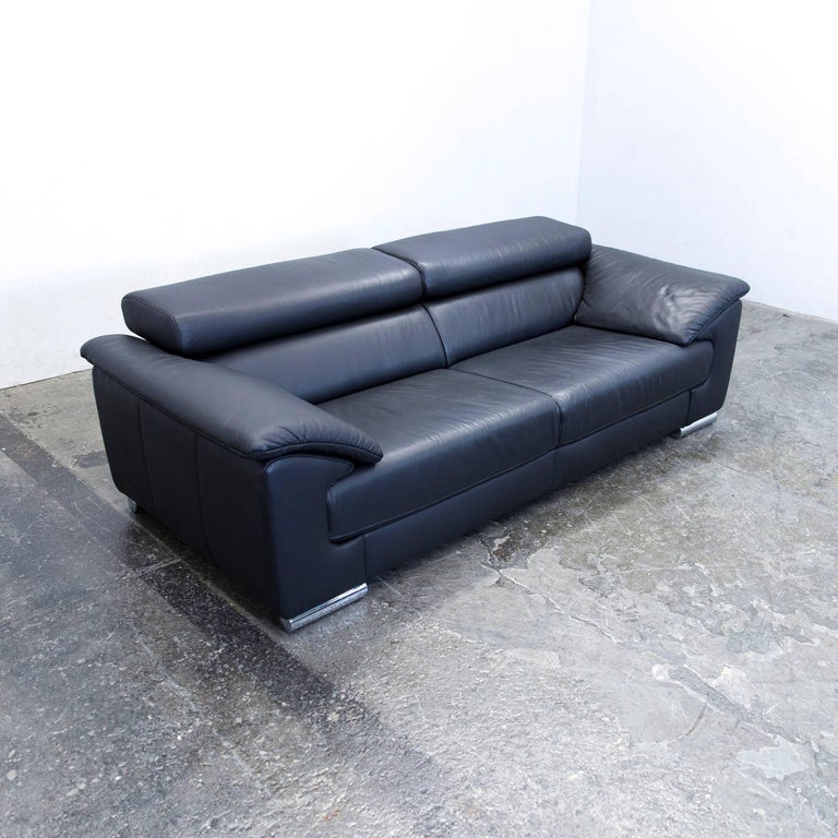 Ewald Schillig Designer Sofa Leather Black Two Seat Function Couch Modern At 1stdibs