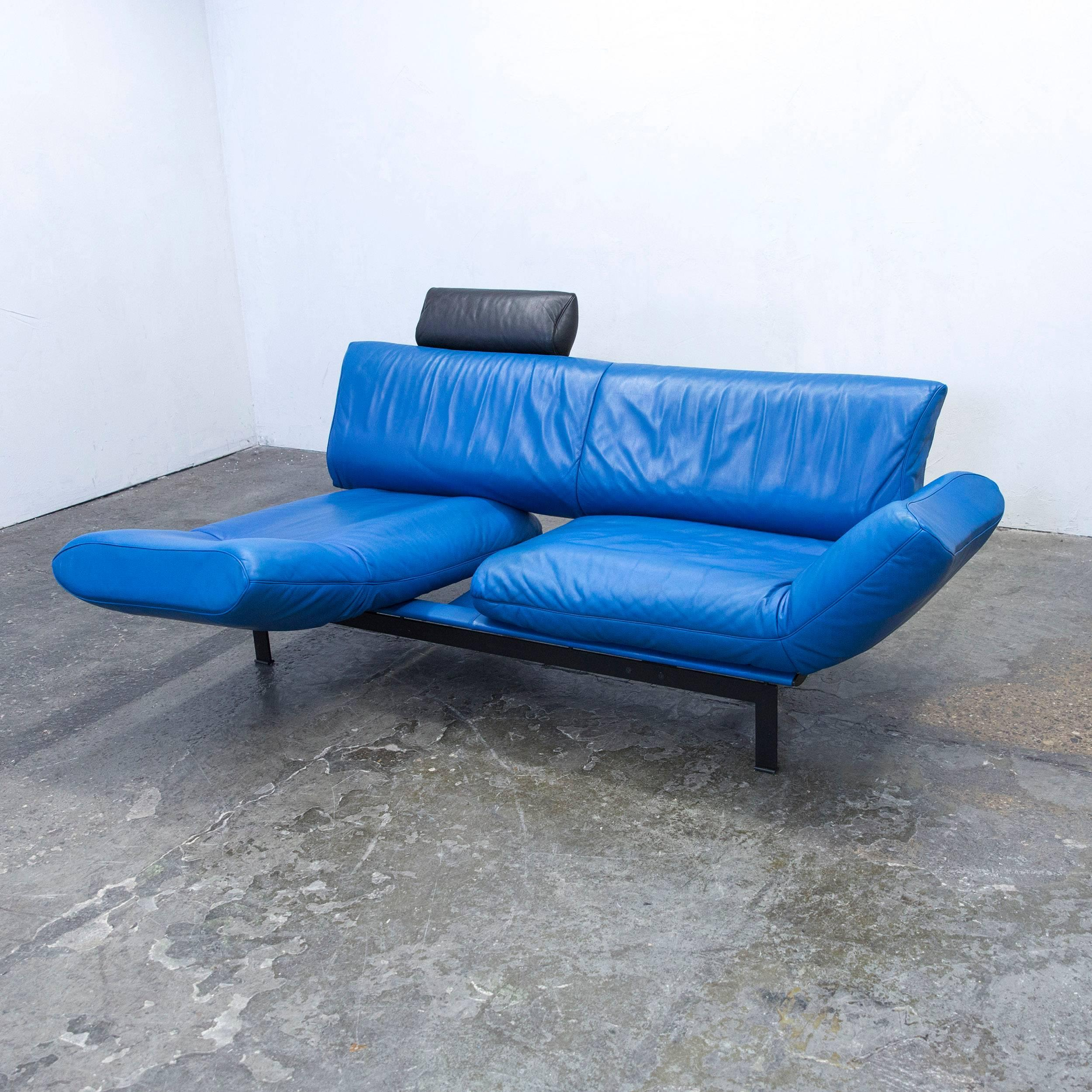 De Sede DS 140 Designer Sofa Leather Blue Black Function Couch Modern At  1stdibs