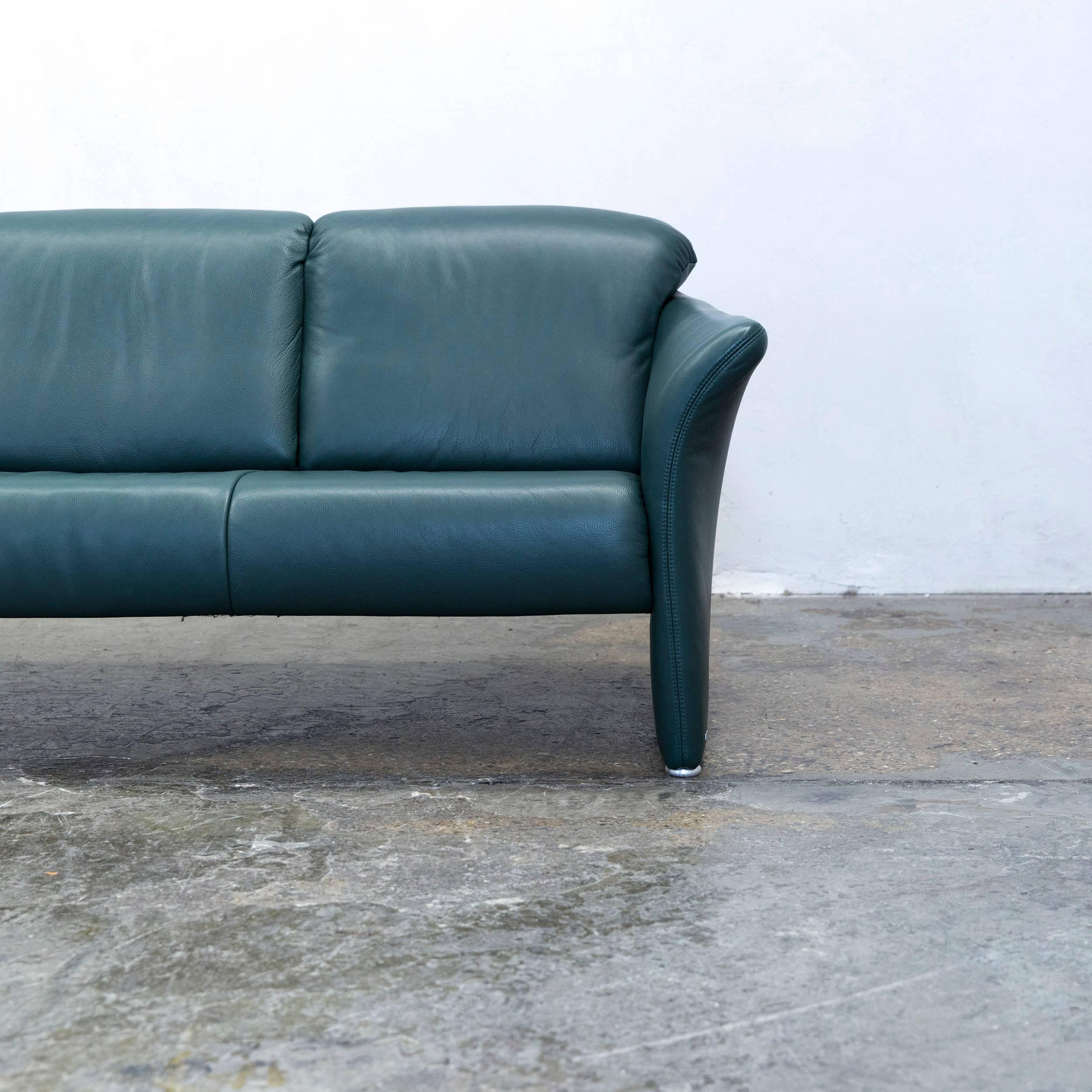 German Koinor Designer Sofa Leather Green Three Seat Couch Modern For Sale