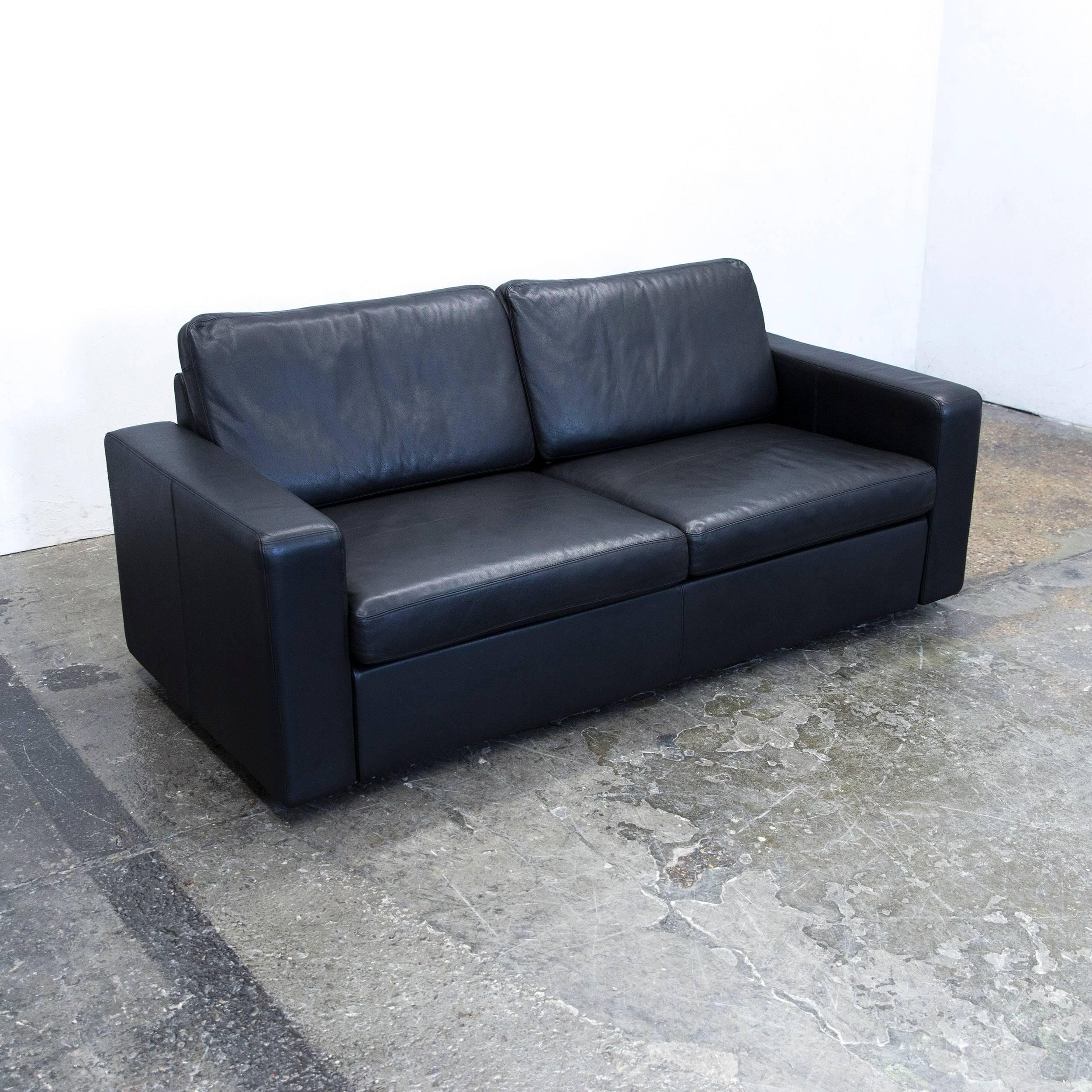 Cor Conseta Designer Sofa Leather Black Sleepsofa Three Seat Couch Modern