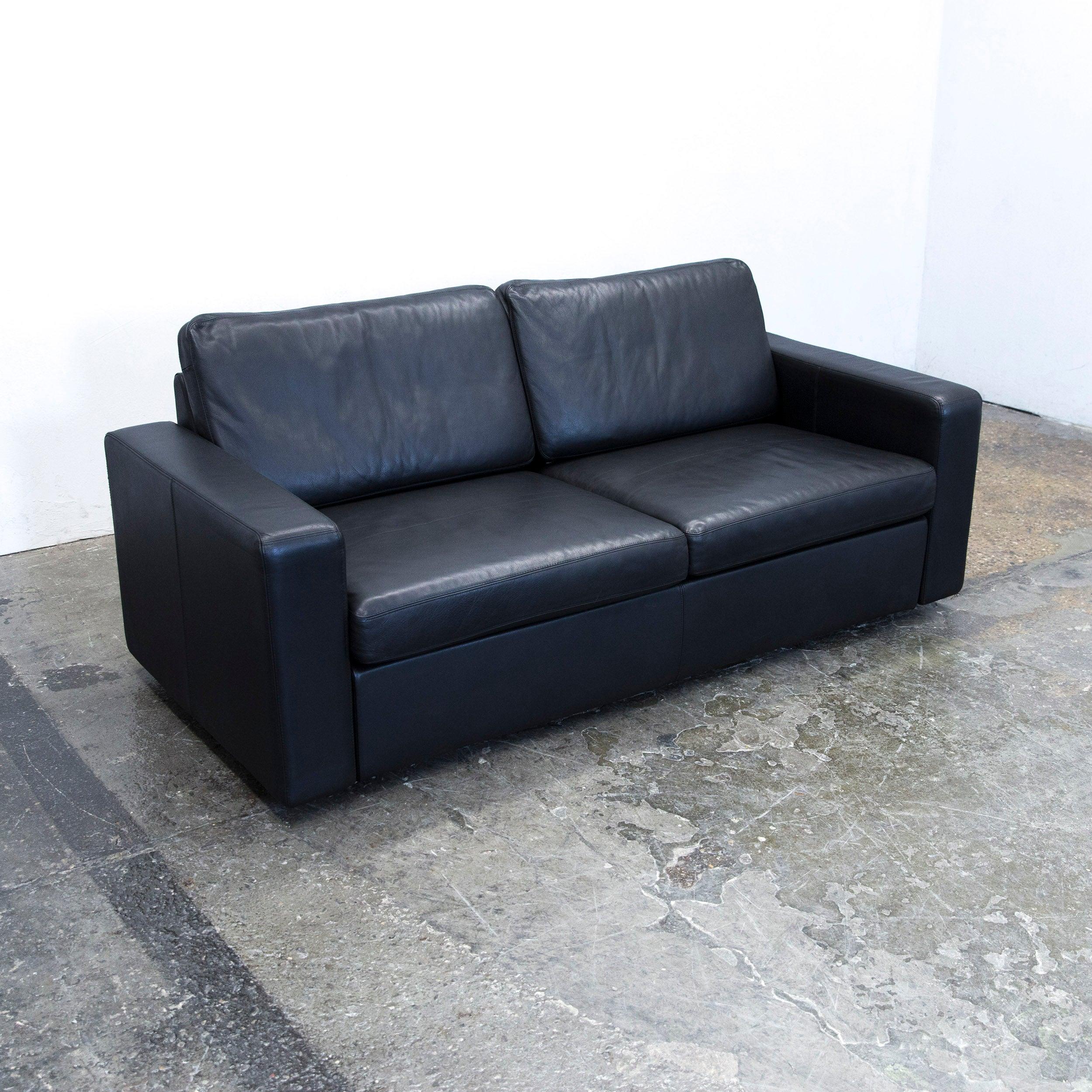 Cor Conseta Designer Sofa Leather Black Sleepsofa Three Seat Couch