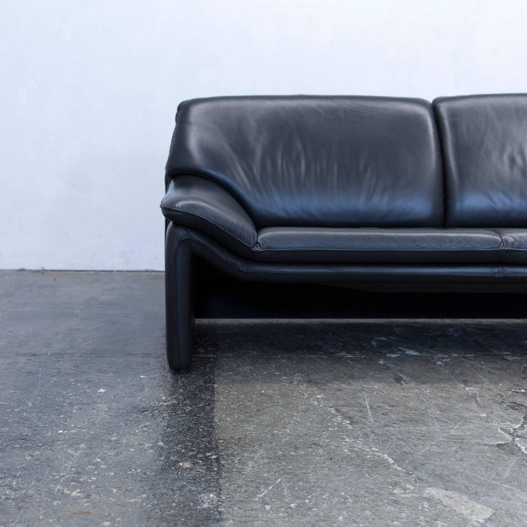 Laauser Atlanta Designer Sofa Leather Black Three Seat Couch Modern