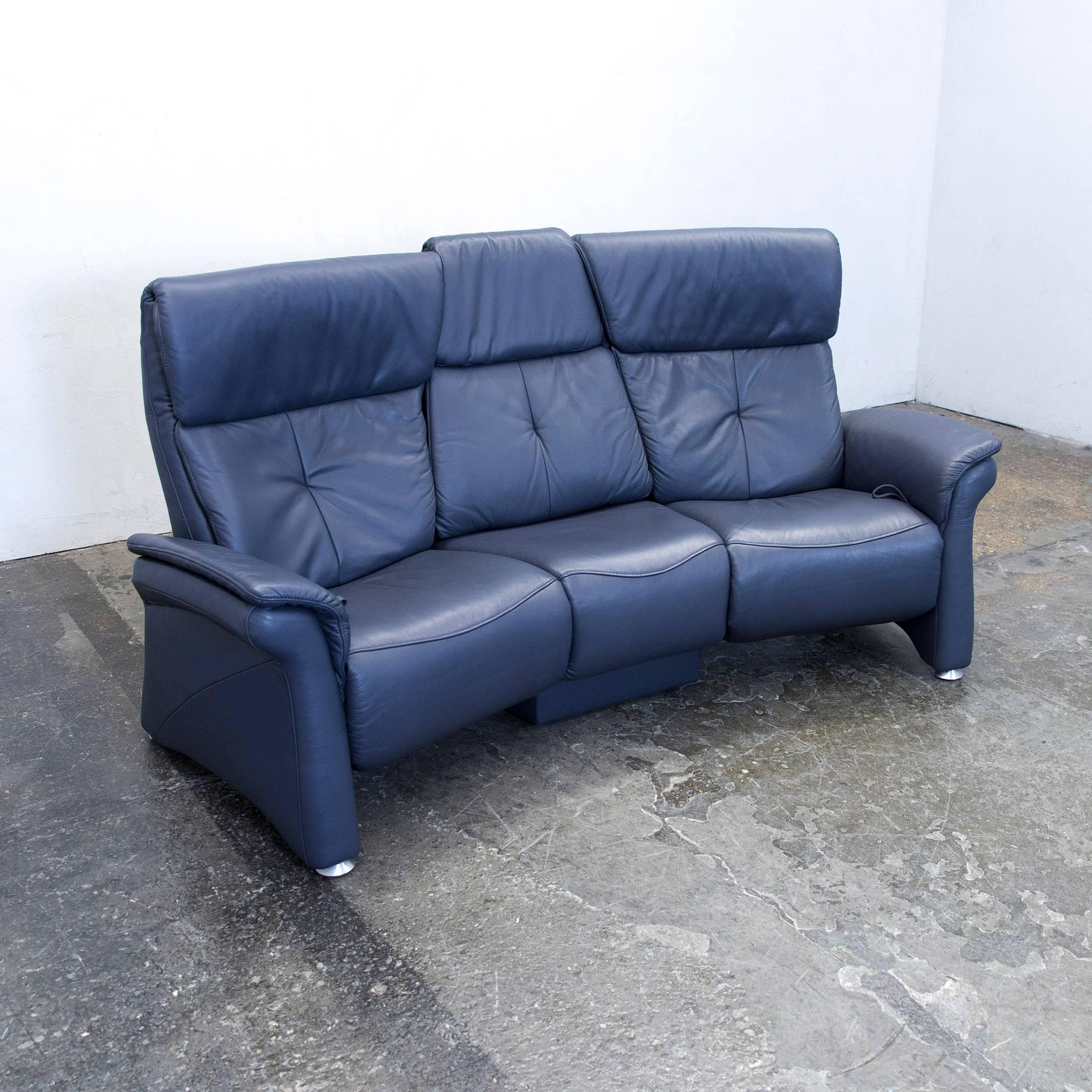 Mondo Designer Sofa Leather Blue Three Seat Function Couch Modern 3   Modern  Sofa Kaufen