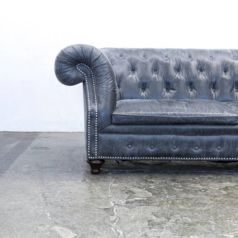 Chesterfield sofa modern grau  Chesterfield Sofa Alcantara Microfibre Fabric Grey Three-Seat ...