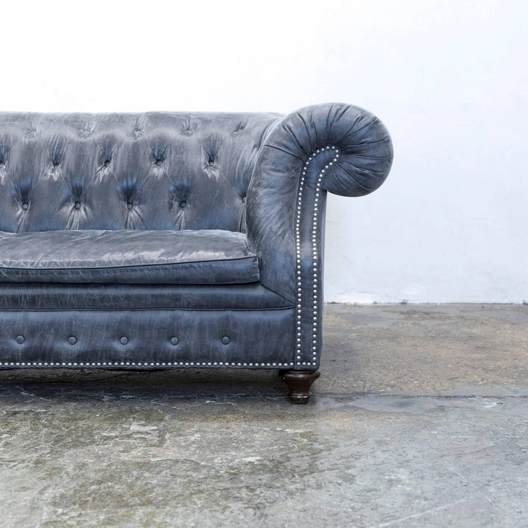 Chesterfield sofa modern grau  Chesterfield Sofa Alcantara Microfibre Fabric Grey Three-Seat ...