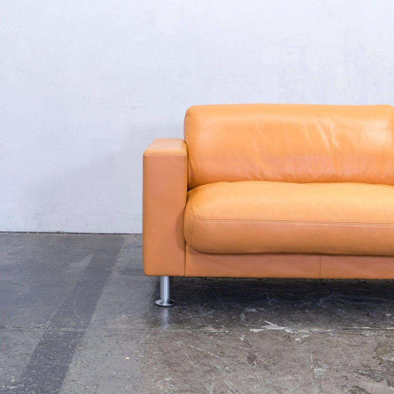 Rolf Benz Basix Designer Sofa Orange Three Seat Couch Modern For