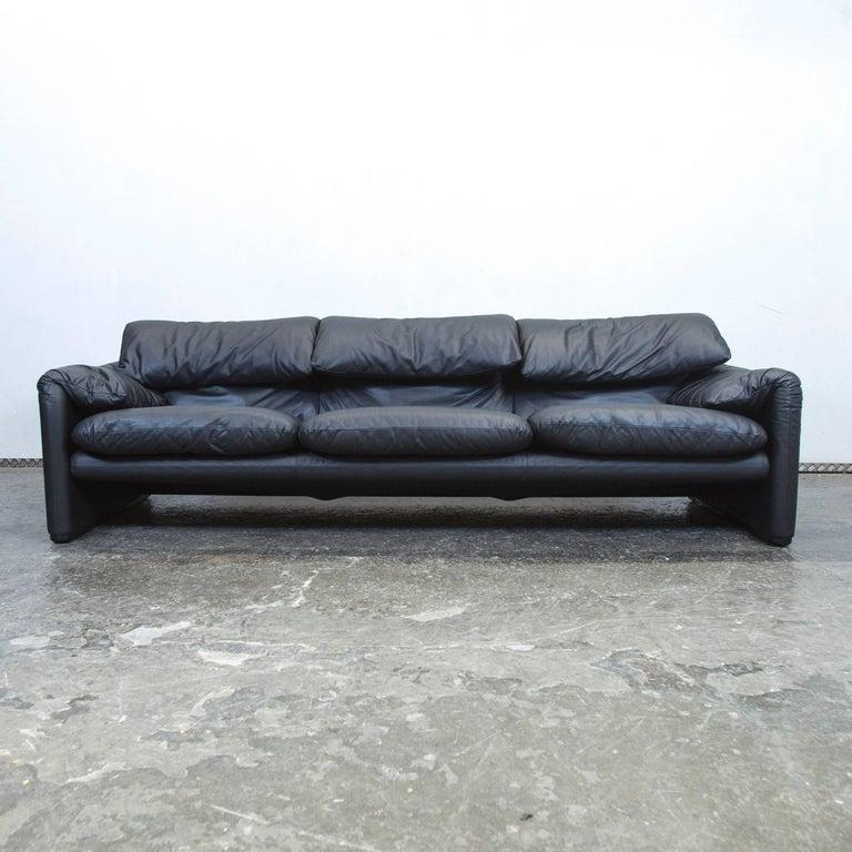 Black Colored Original Cina Maralunga Designer Leather Sofa In A Minimalistic And Modern Design