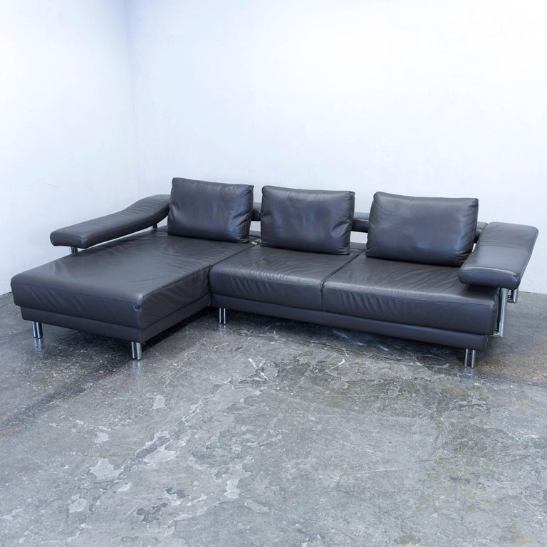 Musterring designer cornersofa leather grey anthrazit for Funktions ecksofa