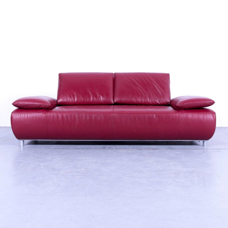 koinor volare designer sofa leather red three seat couch germany at 1stdibs. Black Bedroom Furniture Sets. Home Design Ideas