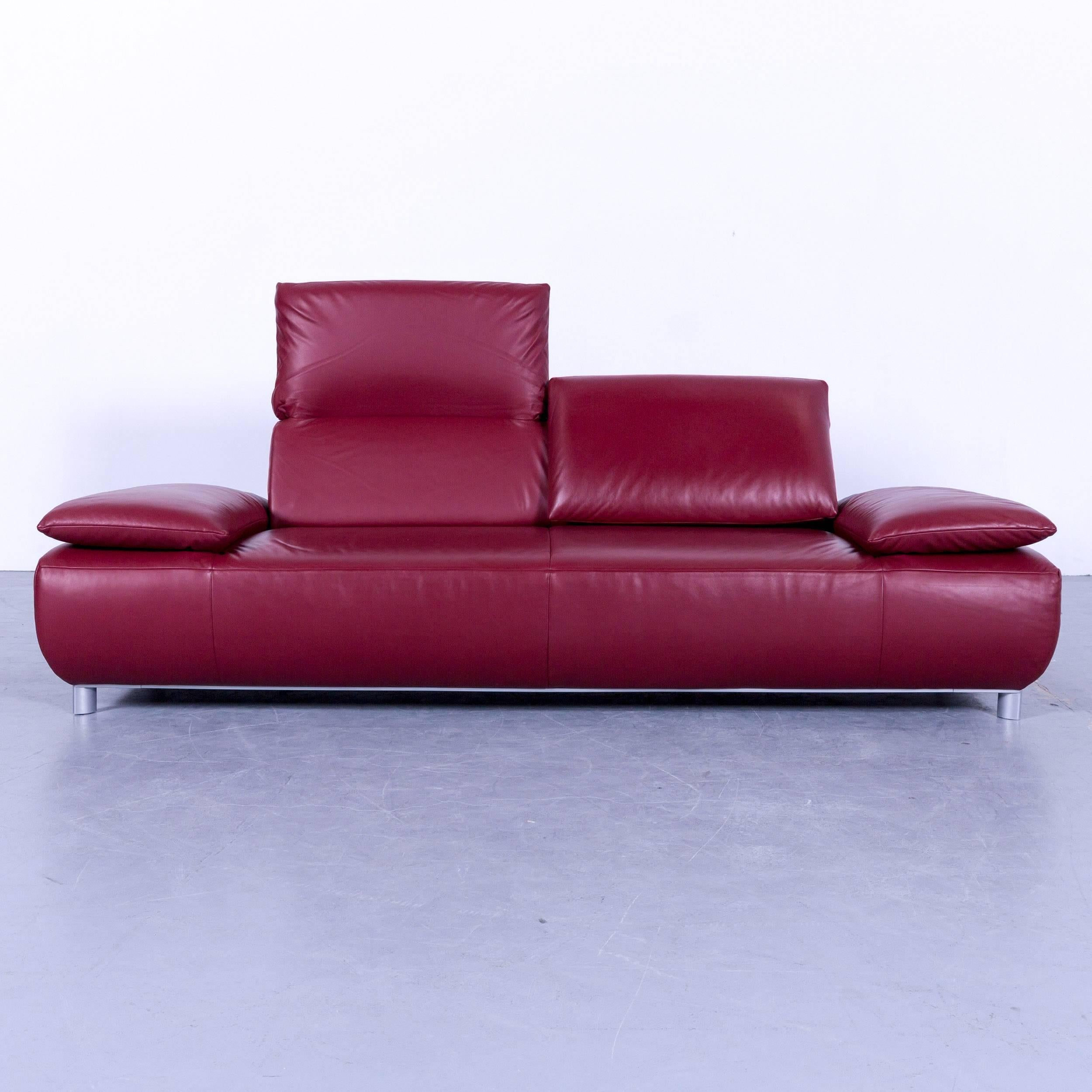Koinor Volare Designer Sofa Leather Red Two Three Seat Couch Set And  Footstool, Made