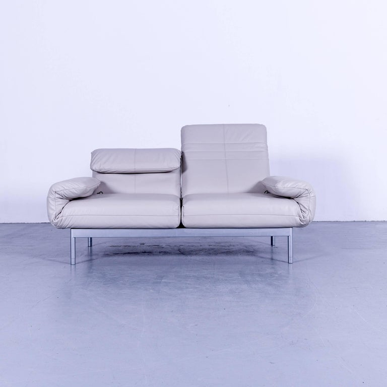 Rolf Benz Plura Designer Sofa Leather Creamy Grey Relax