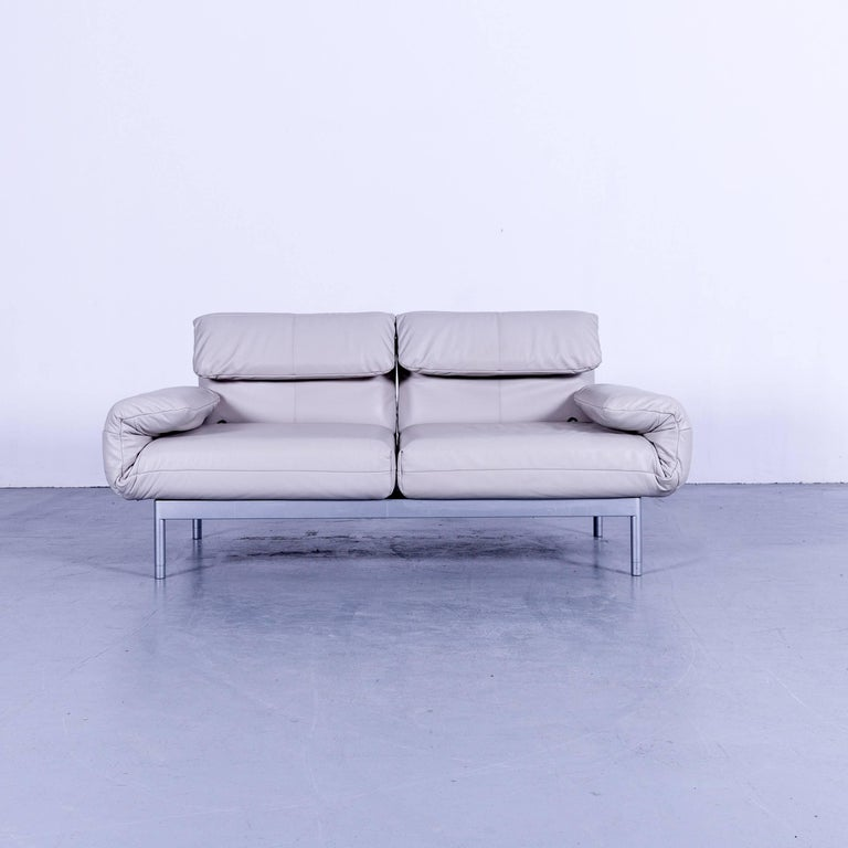 Rolf Benz Plura Designer Sofa Leather Creamy Grey Relax Function Couch