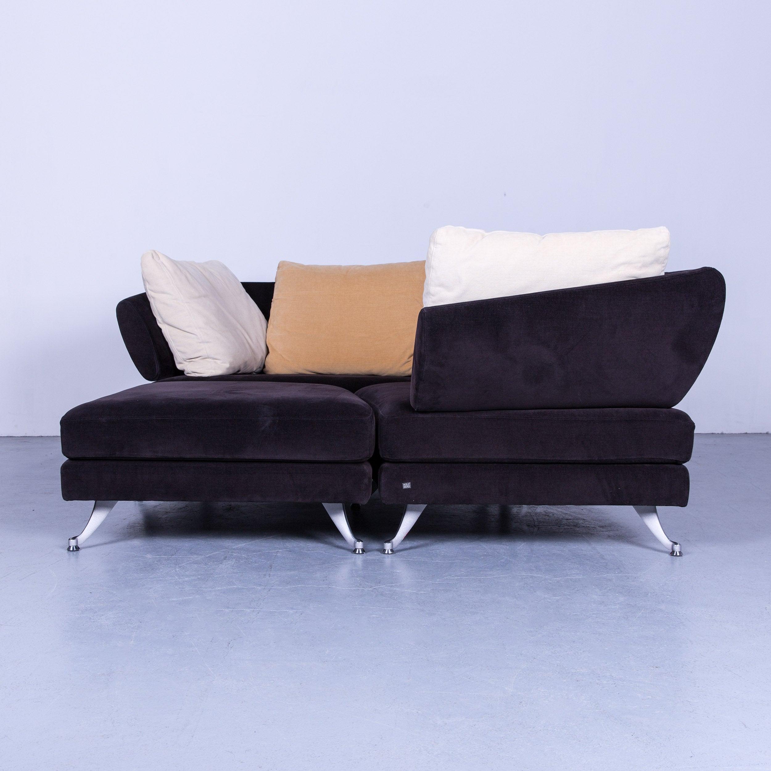 Rolf Benz 222 Designer Sofa Black Fabric Three Seat Corner Couch At