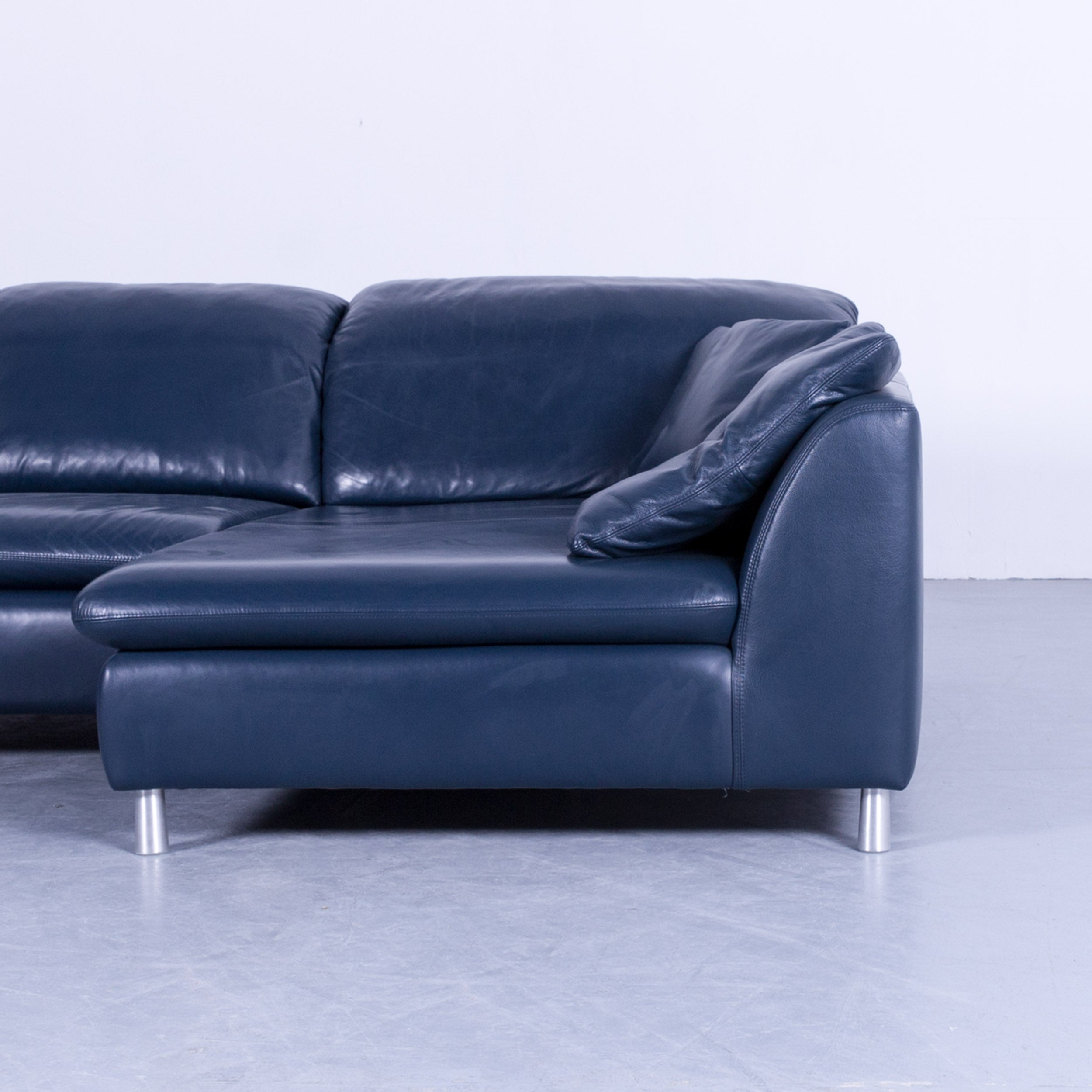 Willi Schillig Leather Corner Couch Blue Sleeping Function Three